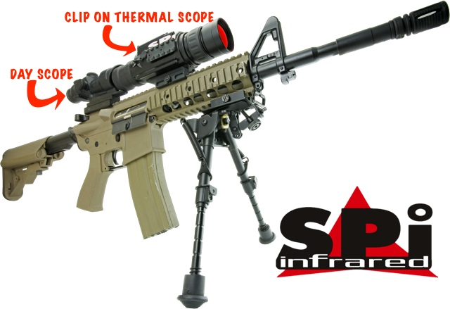 Description of clip on thermal scope mounted to an M4 AR15 assault rifle platform