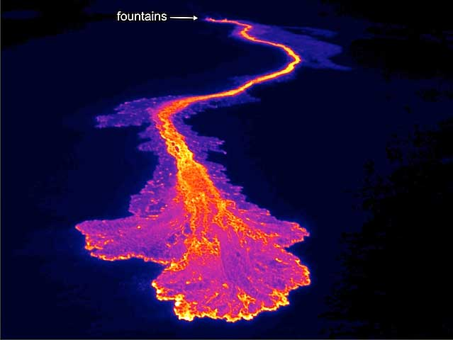 Stunning unmanned UAV FLIR thermal infrared image of Lava Flow.