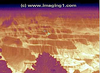 M1-D PTZ infrared camera thermal image of the Grand Canyon