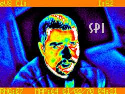 A thermal image of a man's face