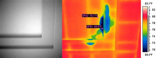 Thermal scan of the ceiling reveals hidden moisture damage.