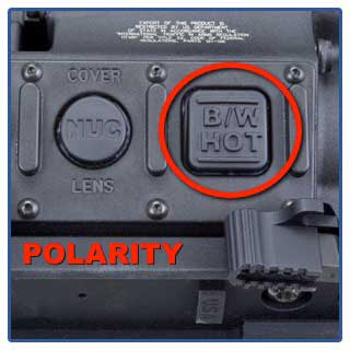 Polarity control buttons on the T-60 FLIR Thermal Scope