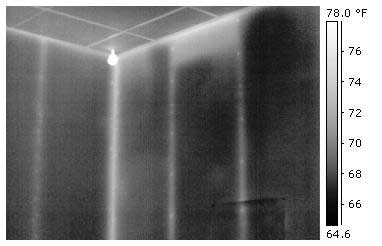 Energy audit infrared image of drywall. Note the nail heads visible in this high resolution image.