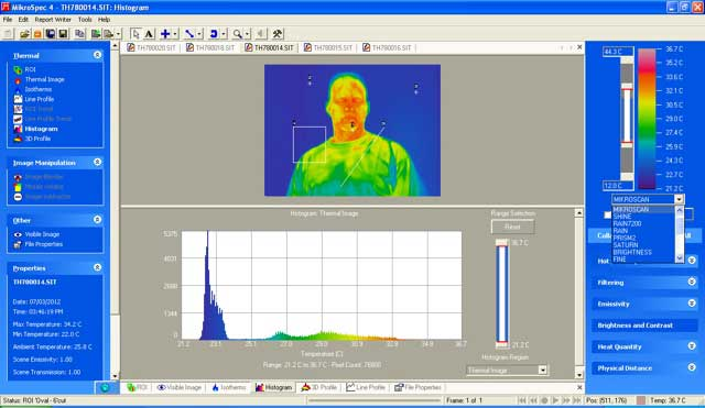 Complex histogram analysis and multiple color palette selection in the report software.