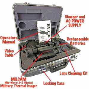 The complete MilCam MV 3-5 IR thermal camera kit