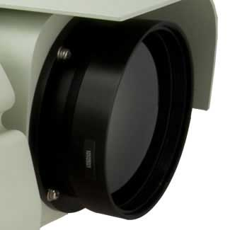 Closeup of the M5 short range thermal border security camera zoom lens
