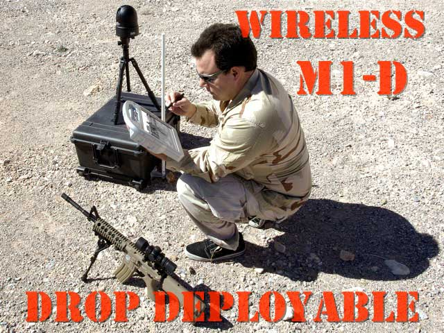 A soldier setting up a wireless PTZ thermal drone camera