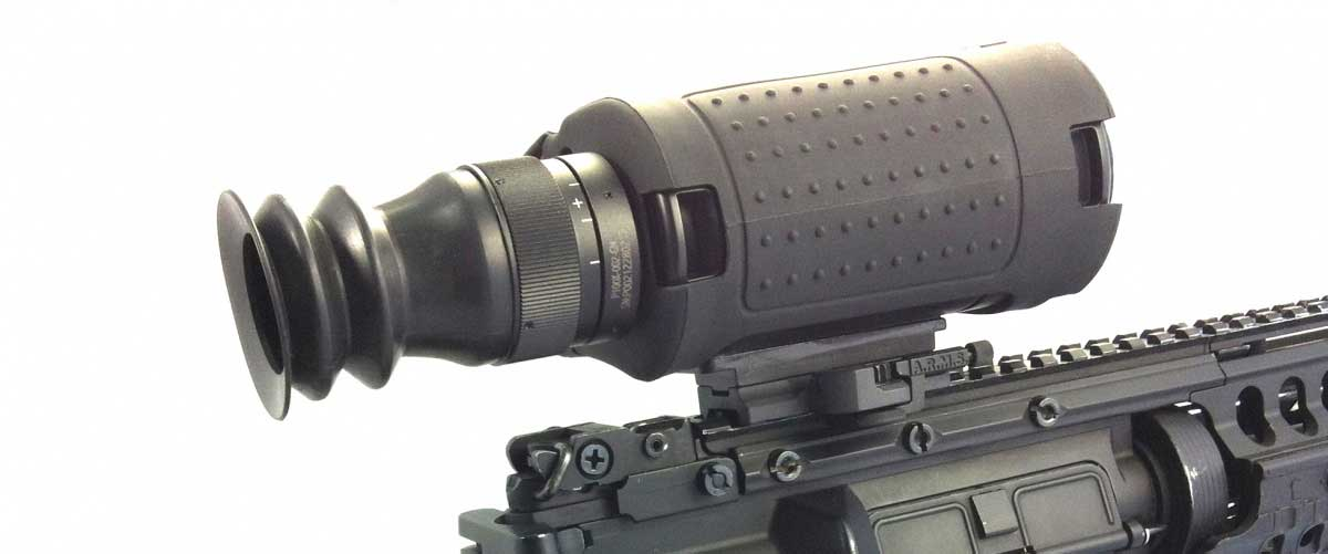T14-X low cost thermal rifle scope for hog hunting mounted on a rifle close up