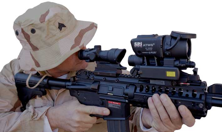 An operator looking through the T60 thermal rifle scope