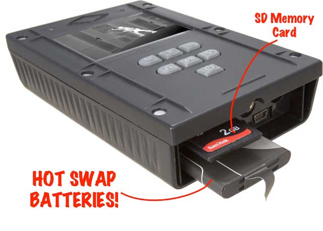The Waterproof DVR features an SD card & hot swappable batteries!