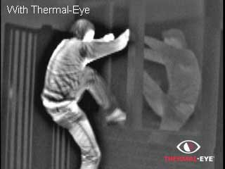 Thermal image of a guy breaking & entering a house