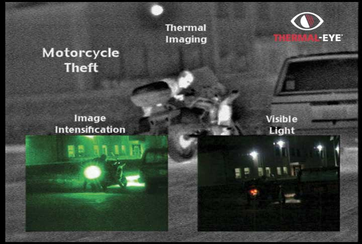 A thermal image of motorcycle theft taken with the used thermal imaging systems