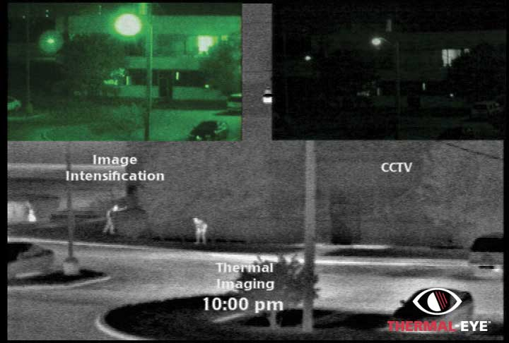 A thermal security image at night taken with the used thermal imaging systems