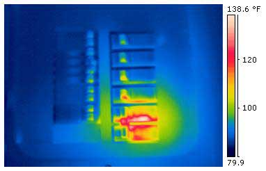 Predictive maintenance infrared image of electrical circuit breaker box.