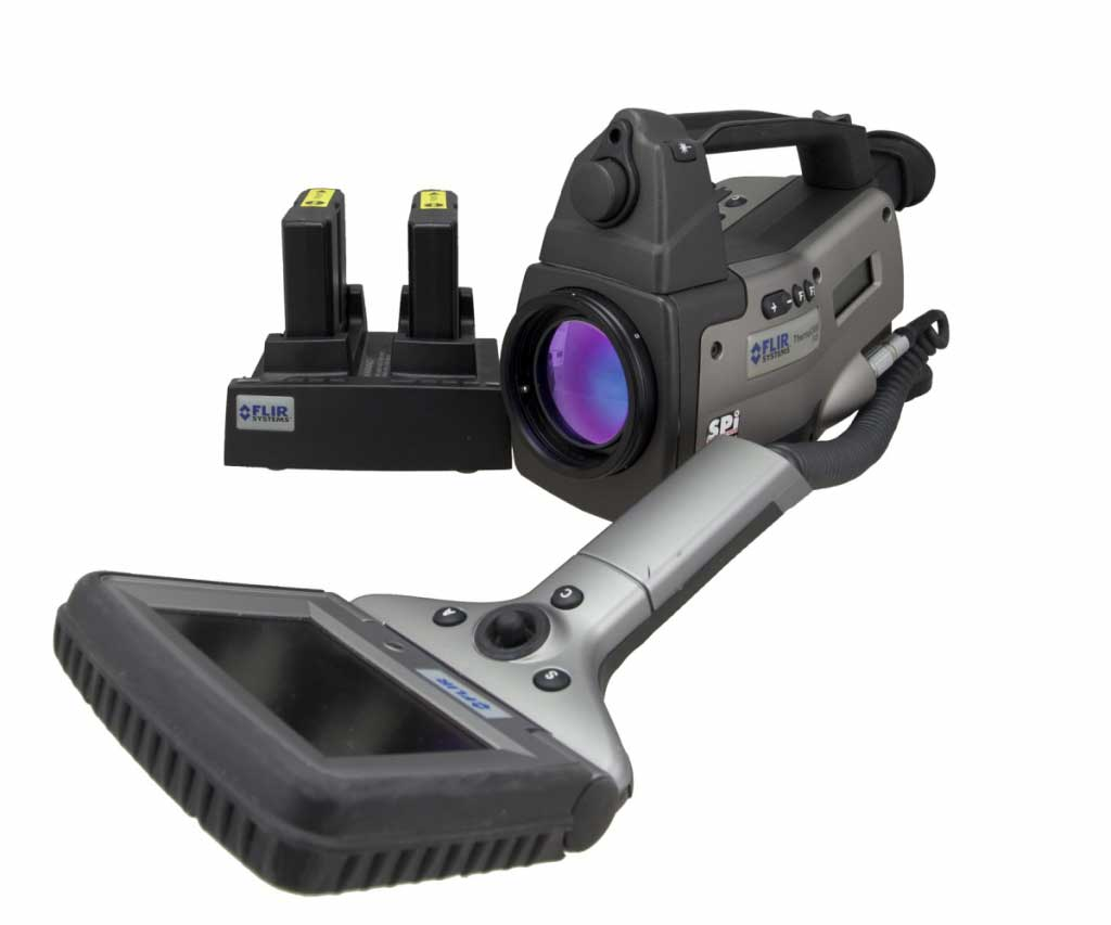 FLIR P40 infrared camera displayed with its batteries next to it