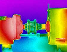 A thermal image of moving gears taken with the RAZ-IR NANO HT Infrared Camera
