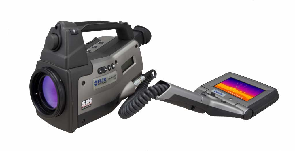 FLIR P40 infrared camera displayed with the LCD screen by its side