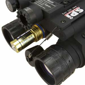 Closeup on the P15 night vision goggles batteries