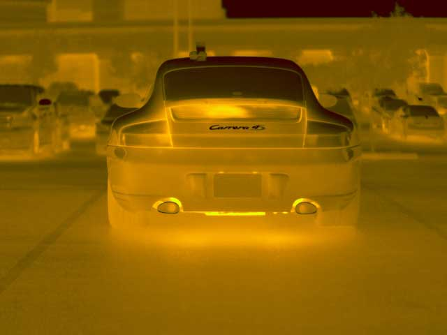 A picture of a Porsche taken with the FLIR PM 640 Energy Audit Infrared Cameras