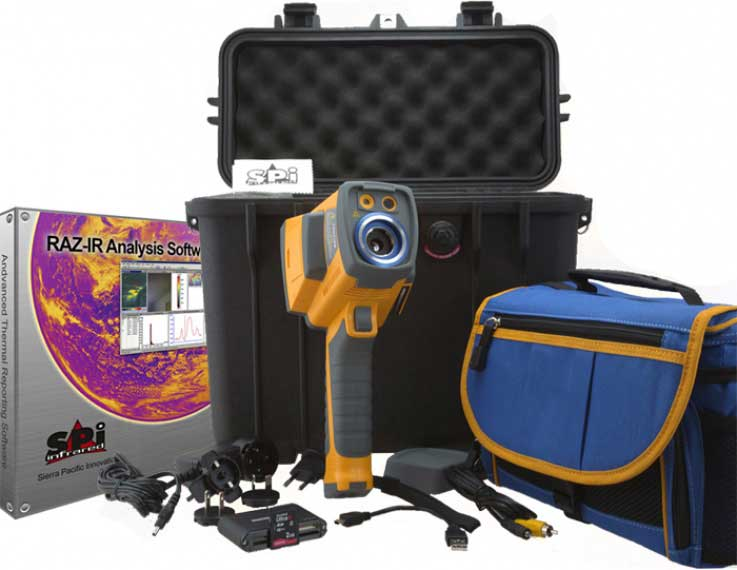 The complete kit for the RAZ-IR MAX infrared camera system