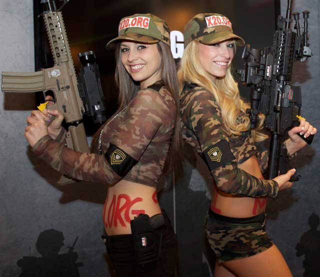 Shot Show 2012 was a great Success for SPI CORP. The booth girls of shot show 2012 were looking good. Meet Ashley and Crystal the SPI girls. Hot and good with a rifle!