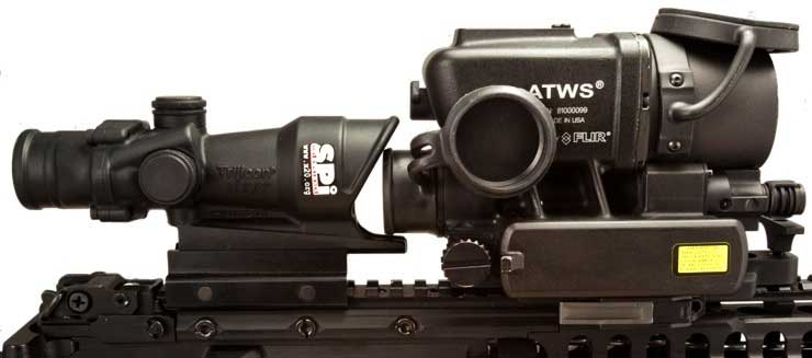 The ATWS mounted on a rail in front of the Trijicon ACOG 4x32 scope.