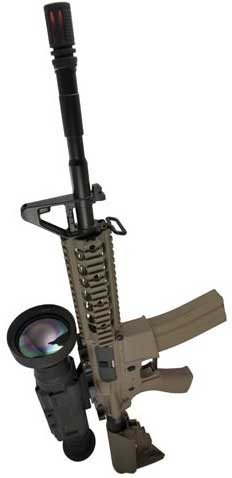 An image of an X26 thermal imaging scope on a sniper rifle
