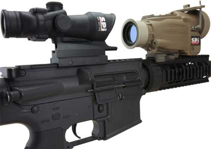 An image of an X27 thermal scope clipped onto a rifle