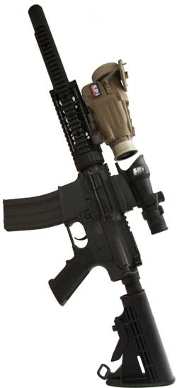 The X27 Clip On Thermal Rifle Scope mounted on an M4