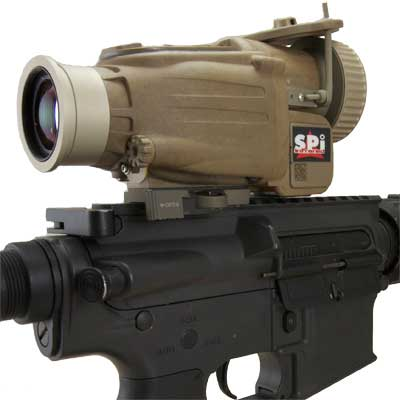 A closeup of the X27 thermal weapon sight mounted on an M4