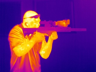 View of a man with a thermal scope through the M18 HD