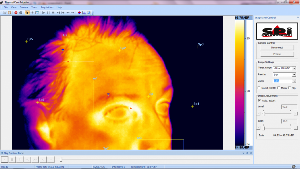 XP 5000 Infrared Camera screen view 1