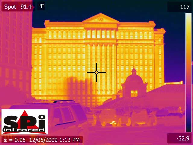 A thermal image of Caesar's Palace in Las Vegas, NV