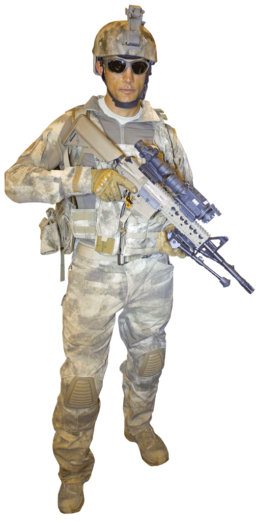 An Army operator showing his thermal scopes mounted on a rifle for combat