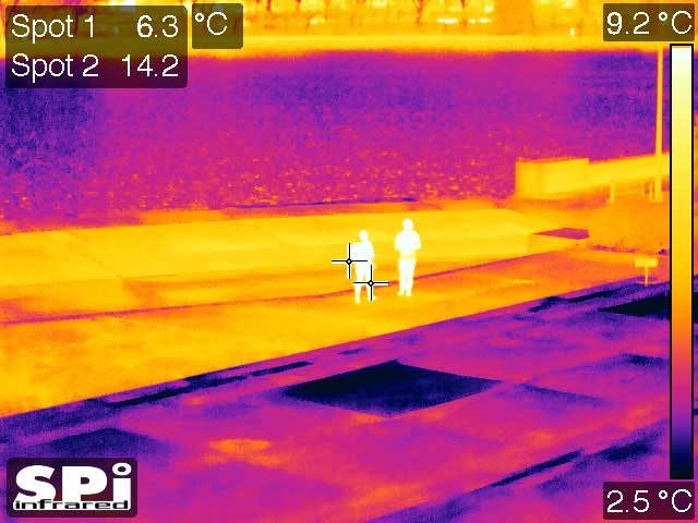 People walking up the street as seen through our PTZ thermal imaging cameras