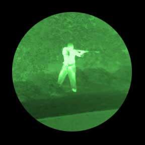A gunman seen through the M2124-LR Clip On Night Vision Sniper Scope