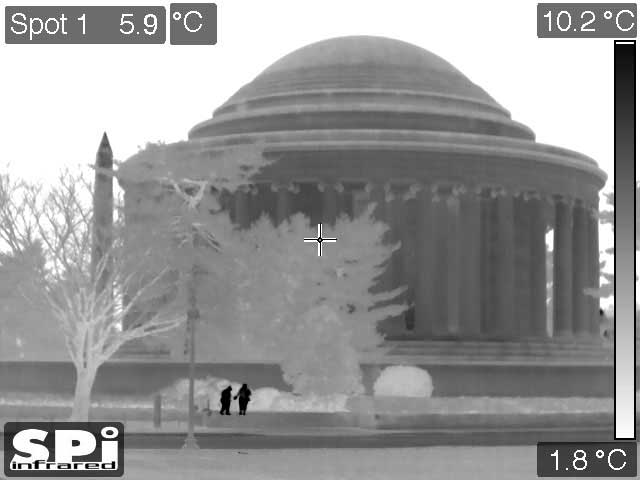 Black Hot thermal FLIR surveillance image of people posing for photos at the Jefferson Memorial in Washington, DC