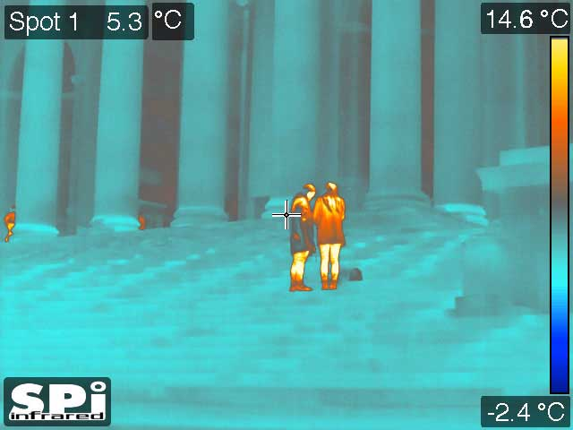 people at the Jefferson Memorial in Washington, DC as seen through our PTZ thermal imaging cameras