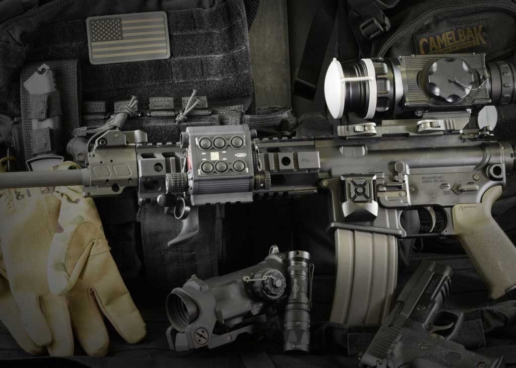 The TMSLS tactical laser sight can be mounted on a rifle.