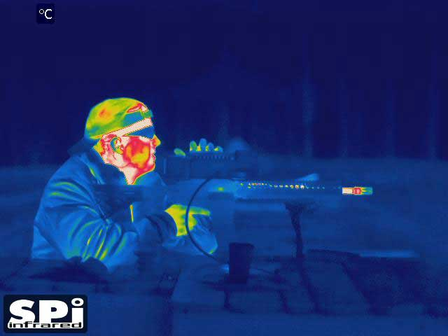 A gunman as seen through our PTZ thermal imaging cameras