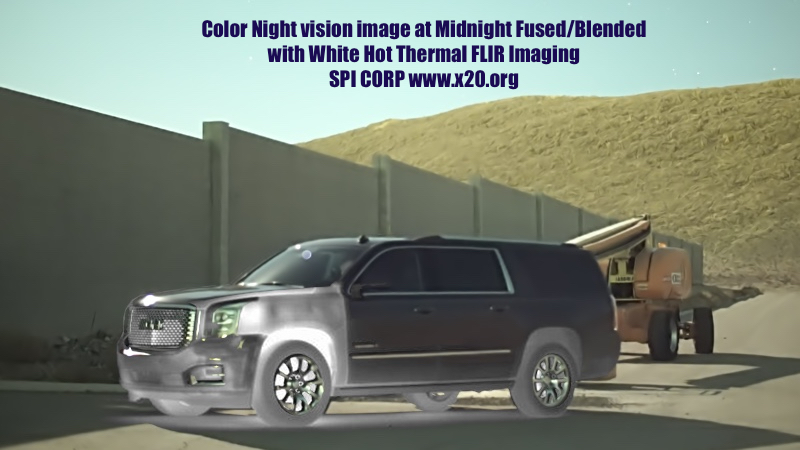 Color Low Light Night Vision Midnight Image Fused with thermal infrared FLIR Image