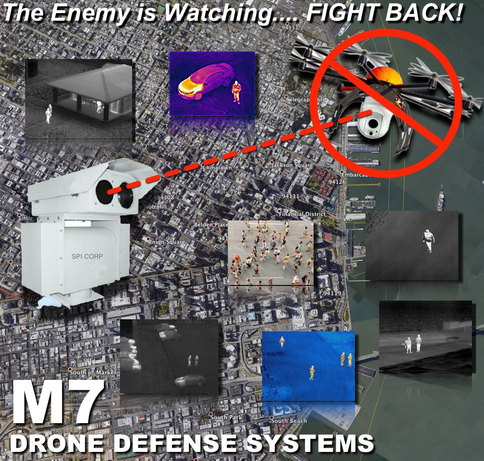 drone defense system anti uav detection over san fransisco in thermal
