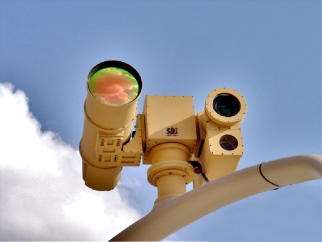 Cooled thermal camera mounted on pedestal