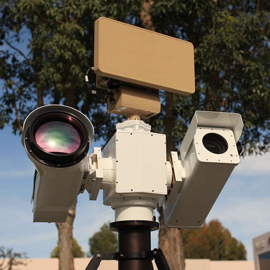 Long Range PTZ thermal Imaging FLIR imaging EOIR Pan Tilt PTZ LRF Cooled MWIR uncooled LWIR ISR surveillance Security Gimbal camera pedestal turret Radar