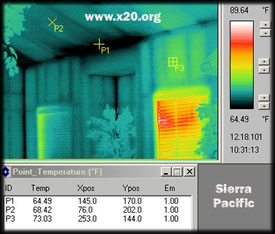 PD300 MWIR cooled thermal image of drywall, the black spots illustrate cold air infiltrating into the residence